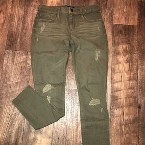 Express Jeans - Olive green distressed jeans